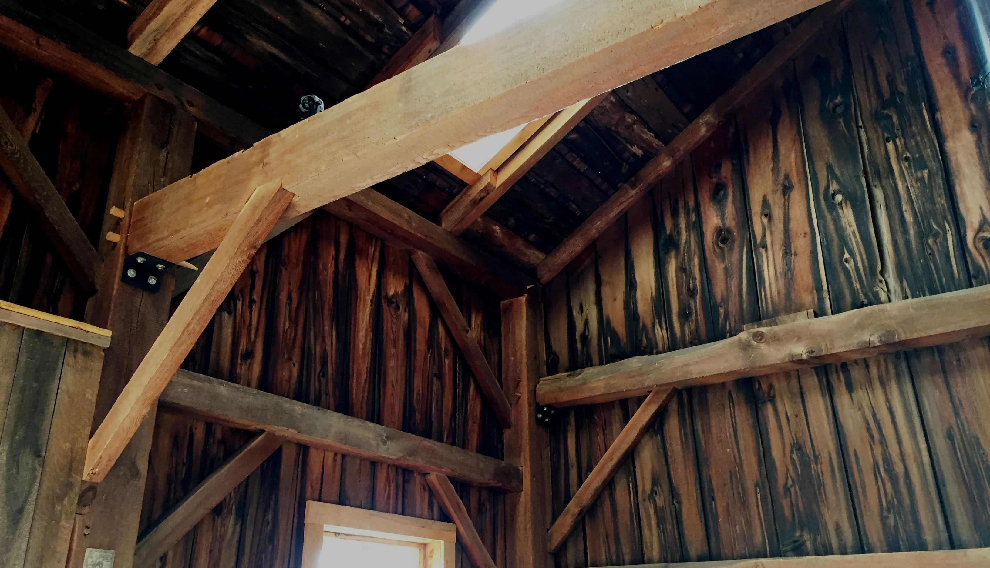 Original rafters barn wood create so much country charm